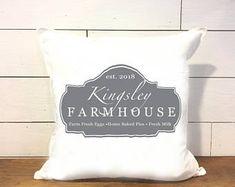 Farmhouse Family Name Pillow - Rural Pillow Cover - Rustic Pillow Cover - Home D. : Farmhouse Family Name Pillow – Rural Pillow Cover – Rustic Pillow Cover – Home Decor – Farmhouse Chic Living Room Decor Pillows, Diy Pillows, Diy Pillow Covers, Decorative Pillow Covers, Rustic Decorative Pillows, Turquoise, Farmhouse Chic, Etsy, Orange