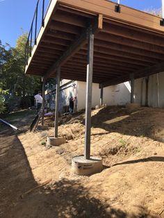 Photo of LA Decks - Los Angeles, CA, United States. Hillside deck foundation by Los Angeles city code. into bedrock. Hut House, House Deck, Tiny House Cabin, Tiny House Design, Sloped Backyard, Small Backyard Pools, Backyard Landscaping, Diy Carport, Deck Building Plans