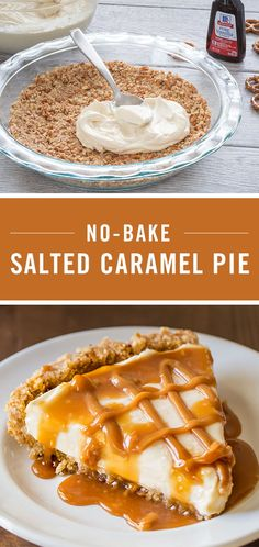 No Bake Salted Caramel Pie is our go-to easy fall dessert. It features a crust of crushed pretzels, butter and sugar and a delicious filling of smooth cream cheese and caramel. Make sure to grab a piece of your own – this sweet and salty dessert won't las Thanksgiving Desserts Easy, Fall Dessert Recipes, Desserts For A Crowd, Food For A Crowd, Summer Desserts, Just Desserts, Delicious Desserts, Carmel Desserts Easy, Desserts Caramel