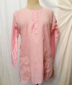 Vintage Pink Cotton Kurta Blouse with White by SunnyChapman