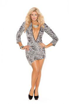 7ff576c7fc9 Tief ausgeschnittenes Stretch-Minikleid in schwarz-weißem Leopardendruck in  Übergrößen - My-US-Store. Sexy KleiderKleider ÜbergrößeAusschneidenParty ...