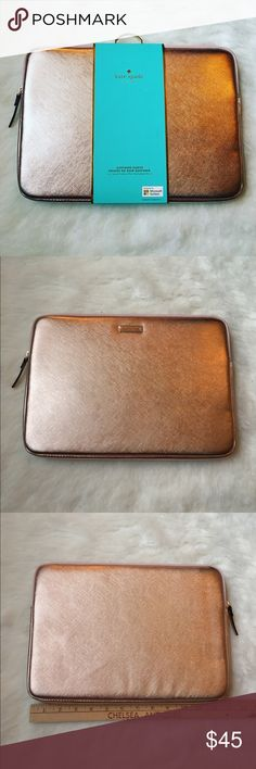 Kate Spade iPad Pro sleeve Keep your Apple iPad Pro safe during travel with this kate spade new york sleeve, which features Saffiano leather construction for a sleek look and dependable protection. The shock-absorbent inner lining defends against bumps and drops. Surface pro 3&4 also fit. As well as 11 inch laptop (in picture) 🎉BRAND NEW NEVER USED🎉🚫NO TRADES LOW BALL OFFERS GET BLOCKED🚫 kate spade Accessories Tablet Cases