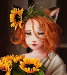 Art Anime Fille, Anime Art Girl, Cartoon Kunst, Cartoon Art, Fantasy Kunst, Fantasy Art, Pretty Art, Cute Art, Art Fox