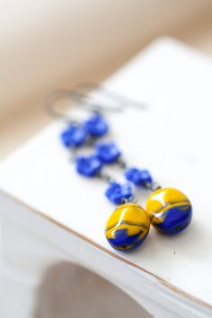 Blue and Yellow Earrings Oxidized Sterling Silver by MeMadeJewels