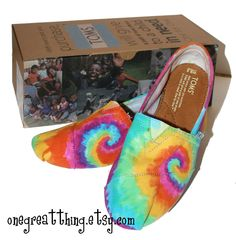 Tie Dye TOMS Shoes Womens Sizes hand dyed by One by onegreatthing, $80.00