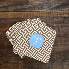 Personalized set of 6 coasters, $32.95. Cork bottom and acrylic top to show off the beautiful design. #hostesgift #monogramcoasters