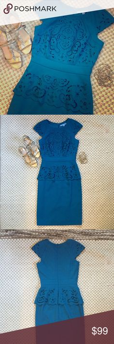 Antonio Melani Teal Peplum Dress Gorgeous deep teal Antonio Melani dress with peplum and cut out lace embellishments. AM fit and quality. NWT, reasonable offers welcome via offer tool, retail $169 ANTONIO MELANI Dresses Midi