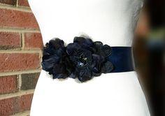 Navy Pure Silk Flower Bridal Sash Navy by BridalSashbyNatalie