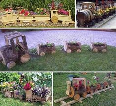 7. Made from old wine barrels to small logs, these DIY train planters will improve the look of your garden: