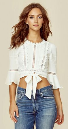 The For Love and Lemons Willow Crop Top features three quarter length bell sleeves, front waist tie, flower trim detail, and tiny ladder cutouts throughout. Boho Fashion, Girl Fashion, Fashion Dresses, Womens Fashion, Fashion Design, Fashion Clothes, Casual Outfits, Cute Outfits, Diy Vetement