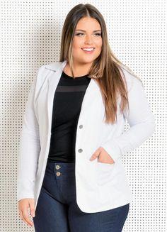 abb070204 Blazer Feminino Plus Size Branco - Posthaus