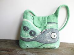 Felted bag hand felted wool tote bag purse unique by Dagneart