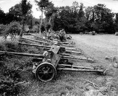Dans un champ, du matériel allemand stocké, pièces d'artillerie. Dans ce site…