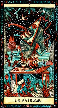 The Magician ( Le Bateleur)  from BONNE AVENTURE TAROT deck -If you love Tarot, visit me at www.WhiteRabbitTarot.com