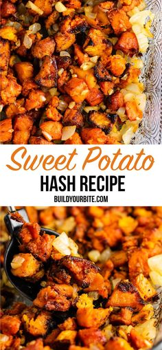 Sweet potato breakfast hash recipe with caramelized garlic and onion. So much flavor – this is perfect for breakfast! Sweet potato breakfast hash recipe with caramelized garlic and onion. So much flavor – this is perfect for breakfast! Sweet Potato Breakfast Hash, Paleo Sweet Potato, Vegan Recipes With Sweet Potatoes, Breakfast With Sweet Potatoes, Vegetarian Sweet Potato Recipes, Sweet Potato Dinner, Sweet Potato Salads, Vegan Stuffed Sweet Potato, Stuffed Sweet Potatoes