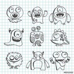 A vector illustration of monster creatures in line art scribble drawing style. The grid background is on a different layer and can be removed. Doodle Monster, Monster Drawing, Monster Art, Cute Monsters Drawings, Cartoon Monsters, Cartoon Drawings, Easy Drawings, Cute Doodle Art, Doodle Art Drawing