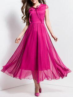 Shop Maxi Dresses - Plain Chiffon Short Sleeve Beach Maxi Dress online. Discover unique designers fashion at StyleWe.com.