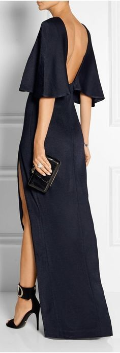 Cushnie et Ochs - Open-back stretch-satin jersey maxi dress Elegant Dresses, Pretty Dresses, Beautiful Dresses, Formal Dresses, Fashion Mode, Womens Fashion, Street Fashion, Looks Chic, Mode Style