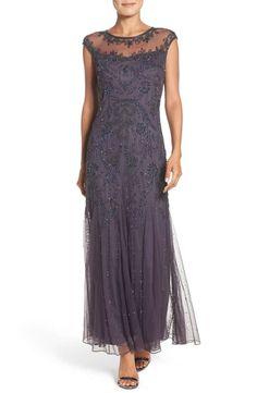 ac33f7b909 Pisarro Nights Embellished Mesh Gown (Regular   Petite)