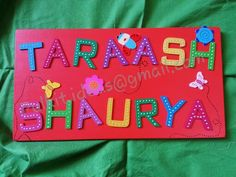 Beautiful  bright name plaque .  All the cutting  painting  works are handcrafted .