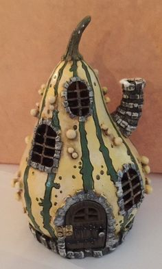 Striped Gourd Fairy Garden House - Baby Feathers Gift Shop - 1