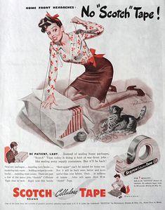 vintage ads for scotch tape | Original WWII era vintage magazine ad for Scotch Tape featuring Ruskin ...