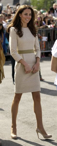 The Duchess sported a tan Malene Birger frock during a welcome ceremony in Yellowknife, Canada on July 5, 2011.