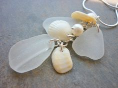Sea Glass Necklace - Sea Shell Keshi Pearls Seashell Beach. $30.00, via Etsy.