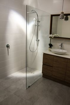 Frameless Shower Screen - Fixed Panel Shower Screen - On the Ball Bathrooms - Wet Room - Fixed Panel - Bathrooms Perth Wet Room Bathroom, Small Shower Room, Bathroom Interior, Small Bathroom, Master Bathroom, Family Bathroom, Downstairs Bathroom, Glass Shower Panels, Bathroom Shower Panels