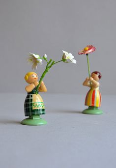 Tiny Flower Girl Miniature - WEHA-Kunst Erzgebirge Germany via Etsy