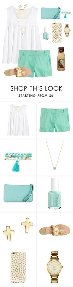 """""""Minty Gold"""" by aclaireb-1 ❤ liked on Polyvore featuring Clu, J.Crew, Charlotte Russe, BaubleBar, Kate Spade, Essie, Bloomingdale's and Jack Rogers"""