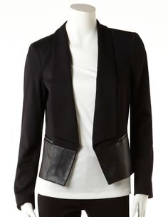 Cleo - Faux Leather Hem Cropped Blazer