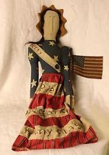 Antique Folk Art Cloth Doll Of Betsy Ross?Real Hair Hand Sewn