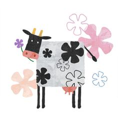 Dot Painting, Painting For Kids, Illustrations, Illustration Art, Drawing Borders, Cactus Cartoon, Cow Drawing, Minimalist Drawing, Cow Art