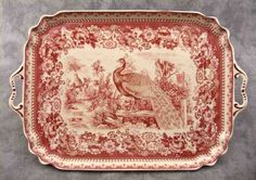Red Cream Transferware  Peacock Toile Serving Platter Tray w Handles        ...~♥~