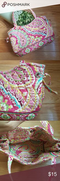 "Vera Bradley Capri Melon Mini Tote Adorable mini tote. 2 small interior slip pockets. Side tie details. Sturdy bottom. Magnetic snap closure  Excellent pre-loved condition. Strap drop 5 1/2"" Width 10"" Height 6""  Excellent pre-loved condition. Vera Bradley Bags Mini Bags"