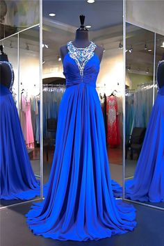 Gorgeous A Line Halter Long Royal Blue Chiffon Beaded Prom Dress Royal Blue Prom Dresses, Prom Dresses 2017, Prom Dresses For Sale, Disney Dresses, Formal Dresses, Beaded Prom Dress, Beaded Chiffon, Prom Dreses, Vintage Prom