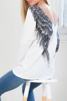 Long Sleeve Low Back Wing Print T-Shirt WHITE: Tees | ZAFUL