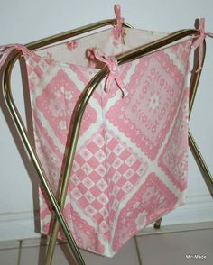 Tie-on Bag For Vintage Tv Tray Stand, Laundry Hamper From Vintage Sheets
