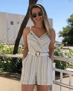 Very cute romper, I like the neckline, colors, buttons, and belt Summer Fashion Outfits, Cute Fashion, Girl Fashion, Fashion Dresses, Womens Fashion, Dress Outfits, Casual Outfits, Cute Outfits, Best Prom Dresses