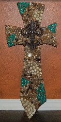 Decorative crossrock cross mosaic cross beaded by CrossFrenzy, $65.00