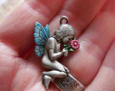 Vintage Fairy Pendant Jewelry Supply make a Necklace DIY Boho Hippie enamel Signed JJ