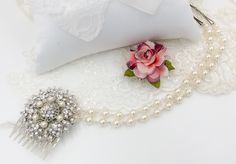 Bridal hair chain, flapper forehead 1920's great gatsby brow band, wedding headdress, draping, pearl and diamante adorned filigree flowers. by dazzlejewellery1 on Etsy