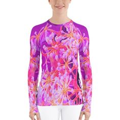 Items similar to Rash Guard, Long Sleeve Shirt for Women and Teen Girls, Cool Abstract Retro Nature in Purple and Coral, Plus Size Printed T-Shirt on Etsy Hip Workout, Workout Shirts, Pink Succulent, Shirt Bluse, Rash Guard, Retro, Stretch Fabric, Designer, Long Sleeve Shirts
