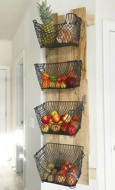# diy # kitchen # storage # space # organization About How to Build a DIY Wall Mounted Fruit & Veggies Holder! Pin You can easily use my Diy Kitchen Storage, Home Decor Kitchen, Home Kitchens, Kitchen Interior, Cool Home Decor, Wall Mounted Kitchen Storage, Ikea Hack Kitchen, Kitchen Pantry Design, Rustic Kitchen Decor