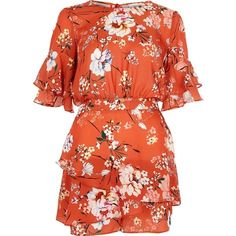 River Island Orange floral frill sleeve romper (1.375.500 IDR) ❤ liked on Polyvore featuring jumpsuits, rompers, dresses, orange, playsuits, rompers / jumpsuits, women, orange jumpsuit, floral print jumpsuit and red romper jumpsuit