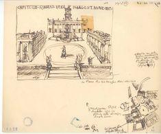 Le Corbusier, study sketches of Campidoglio-Rome, Courtesy Fondation Le Corbusier Architecture Sketchbook, Roman Architecture, Artist Sketchbook, Architecture Design, Architect Drawing, Building Drawing, Architectural Elements, Architectural Sketches, Hand Sketch