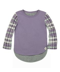 Look what I found on #zulily! Lilac Plaid-Sleeve Organic Hi-Low Tee - Toddler & Girls by Burt's Bees Baby #zulilyfinds
