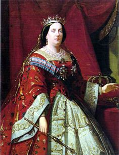 Isabel II wearing a red court dress Fernando Vii, Queen Isabella, Spanish Royalty, Royal Art, Court Dresses, Isabel Ii, Historical Clothing, 1800s Clothing, Royal Jewels