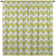 Grey, Green and White Curtain, Chevron Window Curtain, Kids Bedroom, Kitchen Curtain Panel, Bathroom Curtain, Custom Size, ANY COLOR #113